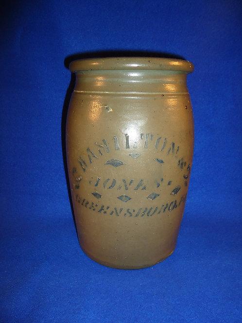 Hamilton and Jones,  Greensboro, Pennsylvania 1 Gallon Jar with Stencil
