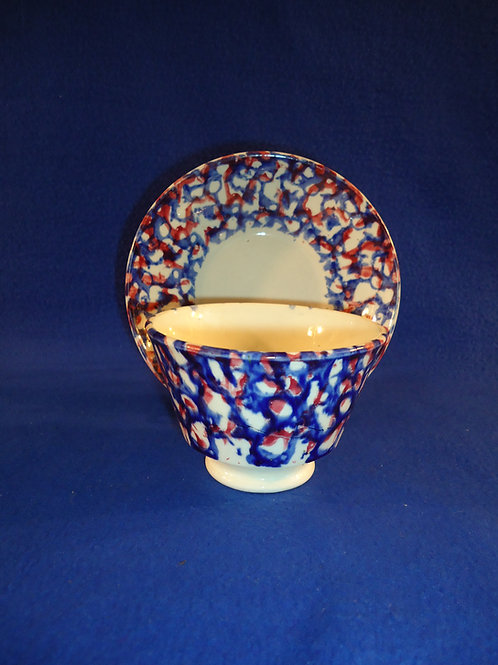 Circa 1830 Spongeware Staffordshire Cup and Saucer in Blue, Red, and White