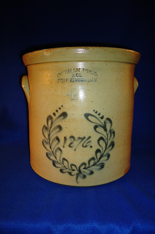Ottman Bros., Fort Edward, New York Stoneware 4 Gallon Centennial Crock