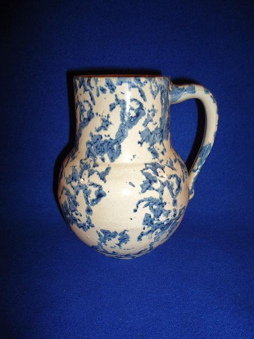 """Gorgeous 6 1/2"""" Blue and White Spongeware Stoneware Uhl Pitcher #4548"""