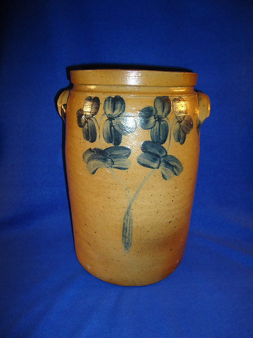 Circa 1870 Stoneware 3 Gallon Jar with Double Clovers from Baltimore, Maryland