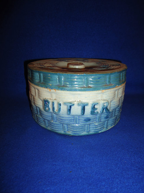 Blue and White Stoneware Basketweave & Morning Glory Butter Crock #5112