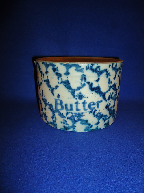 Circa 1900 Blue and White Spongeware Stoneware Butter Crock #5436