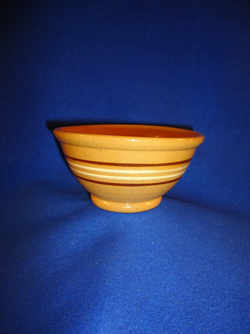 Small Yellow Ware Bowl with Brown & White Mocha Stripes #5052