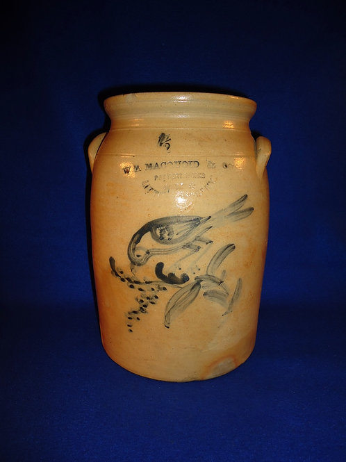 W. A. Macquoid, New York City Stoneware 1.5g Jar with Bird Eating Berries