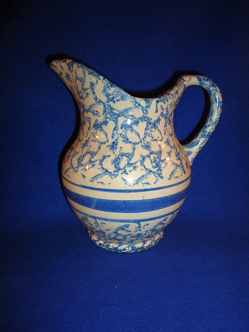 Blue and White Spongeware Stoneware Hot Water Pitcher, Blue Band #4511