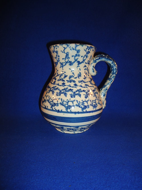 Blue and White Spongeware Hot Water Pitcher with Stripes, #4858