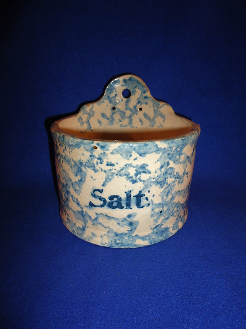 Blue and White Spongeware Stoneware Hanging Salt Crock #4599