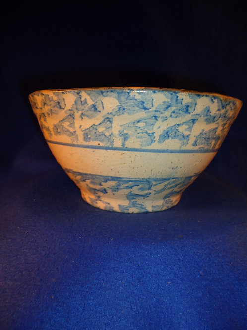 Blue and White Stoneware Spongeware Bowl