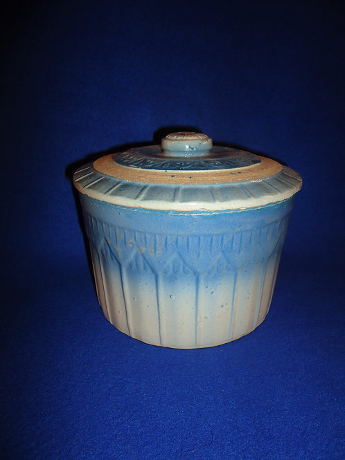 Blue and White Stoneware Butter Crock, Reverse Pyramids & Columns #5406