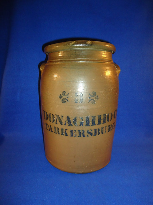 Donaghho, Parkersburg, West Virginia Stoneware 3 Gallon Jar