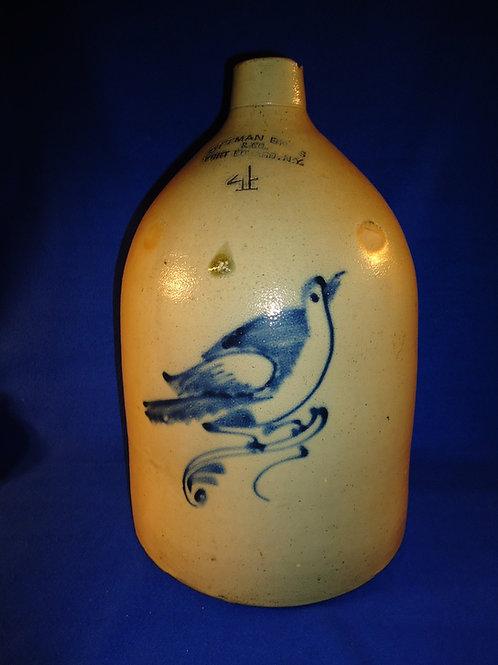 Ottman Bros., Fort Edward, New York Stoneware 4 Gallon Jug with Large Bluebird
