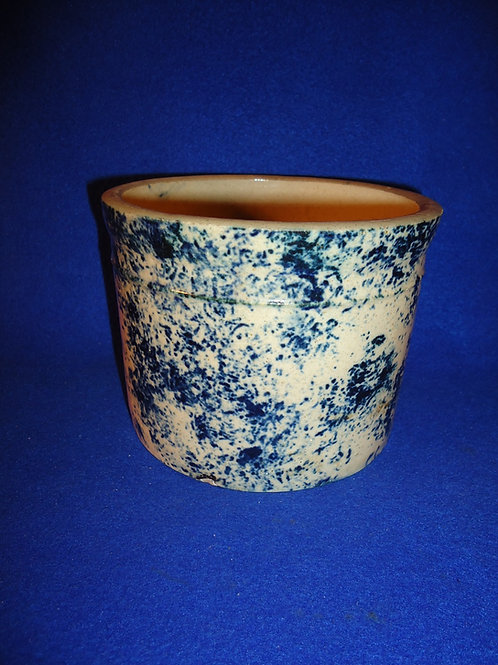 Blue and White Stoneware Spongeware Butter Crock by Red Wing