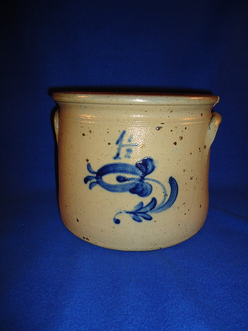 Noah Furman of Cheesequake, New Jersey Stoneware Crock with Tulip