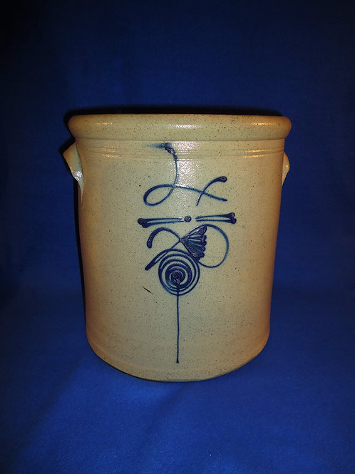 Circa 1880 4 Gallon Salt Glaze Crock with Fancy Beesting #5173