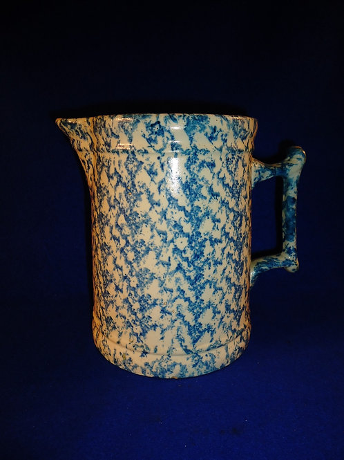 Stoneware Spongeware Pitcher.  Unusual Size, Controlled Sponging
