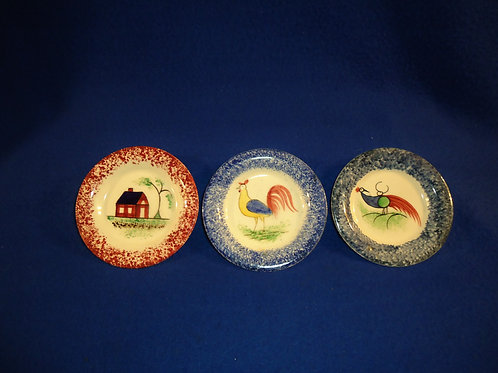 3 Small Spatterware Underplates for 1 Money: House, Rooster & Peafowl