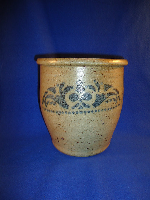 Circa 1880 Stoneware 1 Gallon Cream Pot with Floral Garland, SW Pennsylvania