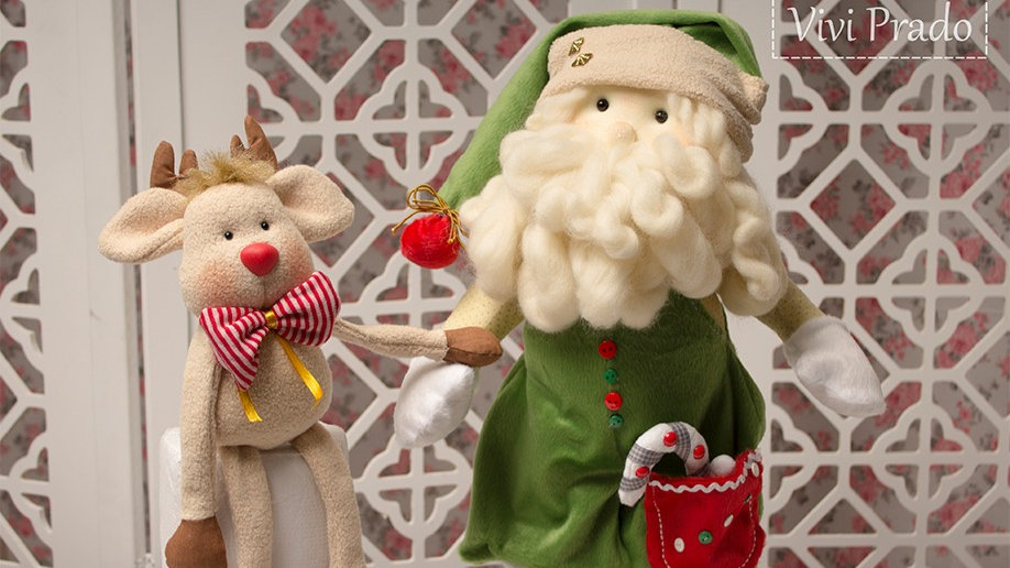 Projeto Digital Papai Noel porta Papel Toalha e sua Rena