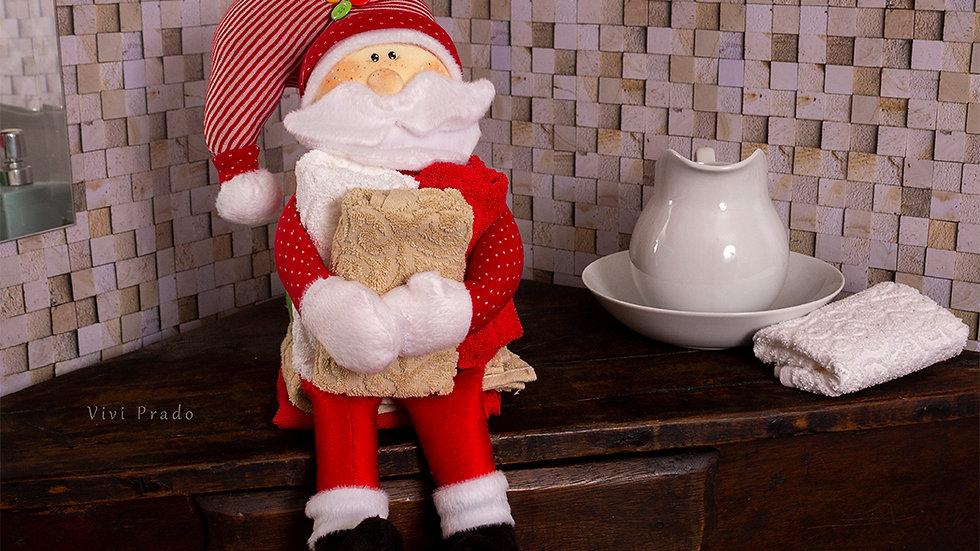 Projeto Digital Papai Noel Porta Toalha de Lavabo
