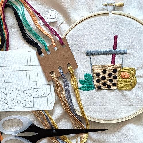 DIY Bubble Tea Embroidery Kit
