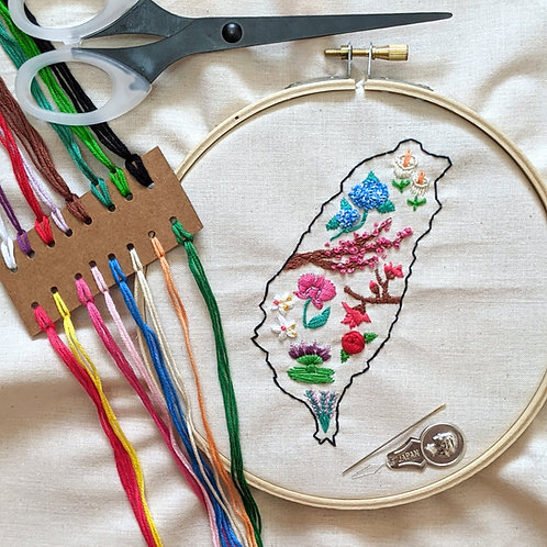 DIY Formosa Flowers Embroidery Kit
