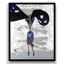 Sra azul con orejas