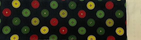 半幅帯 ボタン柄(黒)