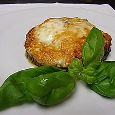 Aubergine with buffalo mozzarella, tomato and parmesan