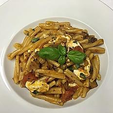 Casareccia with grilled aubergine, cherry tomato and buffalo mozzarella.