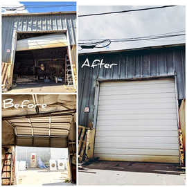 Befor And After  10 Ft commercial garage door off track repair by Local First Garage,  Denver garage door service and repair.