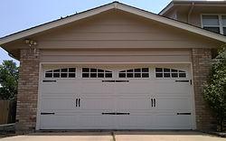 Design garage door with windows installaton in Denver, CO by Local First Garage Door Service