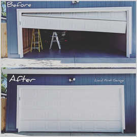Before And After  Same day off track repair by Local First Garage, Denver garage door service and repair.
