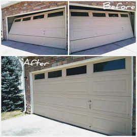 Same day garage door off track repair Befor And After  Same day garage door off track repair