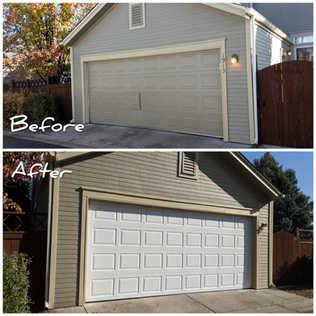Insulated garage door replacing old broken wood door Before And After