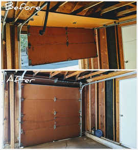 Befor And After  Wood garage door off track repair by Local First Garage, Denver garage door service and repair.
