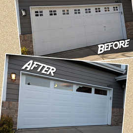 New insulated garage door with plain windows installation Befor And After