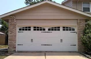 Design double car garage door with windows installation