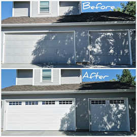 Befor And After  Two garage door with windows installation by   Local First Garage Door Service And Repair