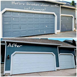 Befor And After  Insulated two garage doors installation