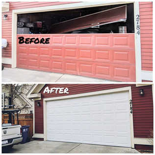 New non-insulated garage door installation Befor And After