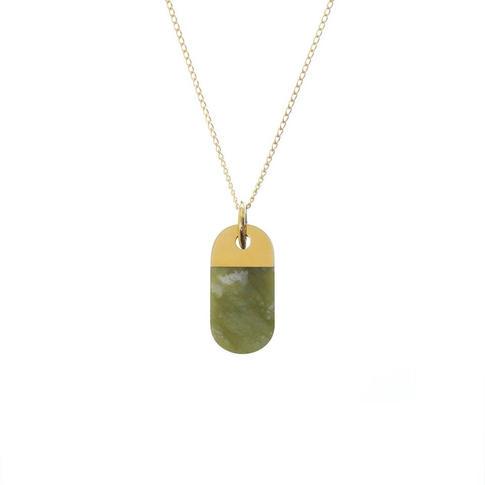 náhrdelník Split Oval Jade