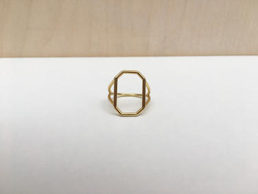 prsteň SKELET  pozlátený octagon vertical