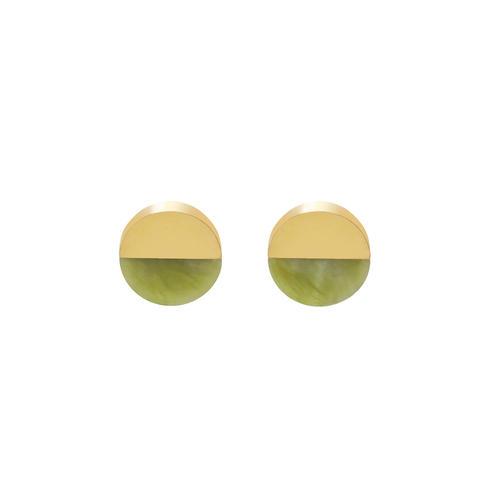 náušnice Split Round Jade