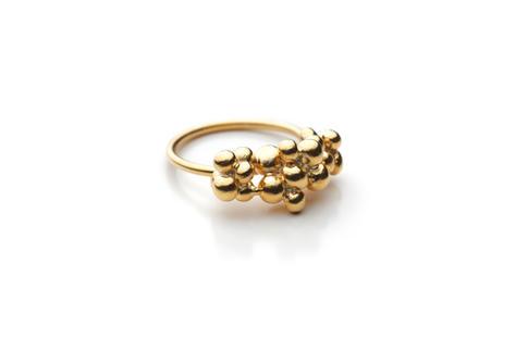 prsteň granule veľké pozlátený