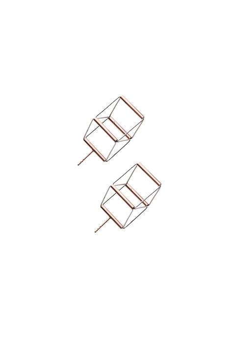 Cube 01 rose earrings