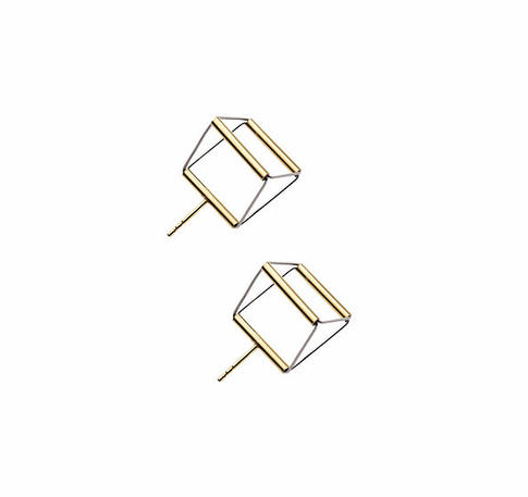 Cube 02 gold earrings