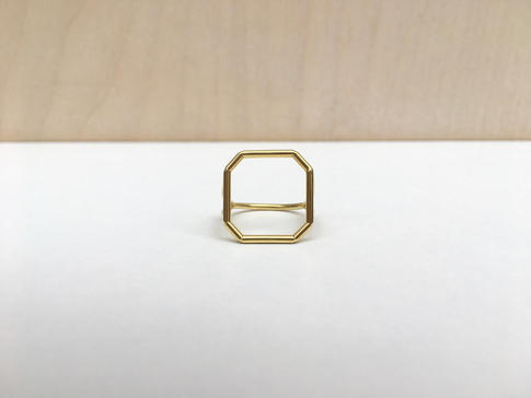 prsteň SKELET pozlátený octagon square