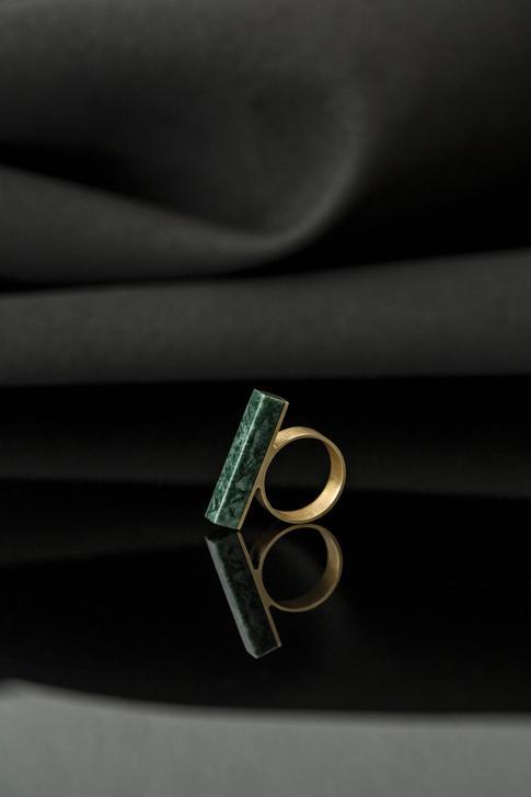 prsteň Block Verde