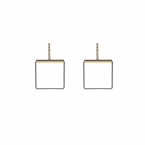 Cube 08 gold earrings